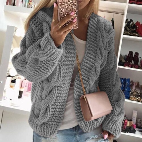 Winter Warm Solid Cardigans Long Sleeve Ladies Soft Handfeel Knit  Sweater
