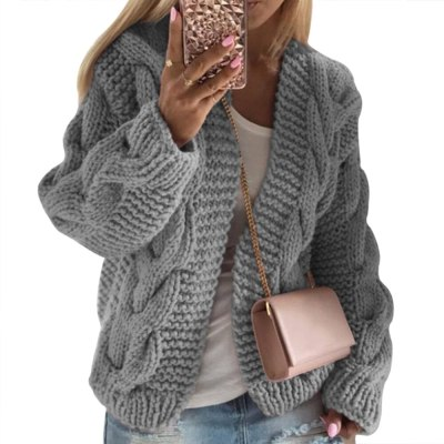 Winter Warm Solid Cardigans Long Sleeve Ladies Soft Handfeel Knit  Sweater