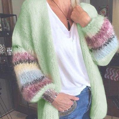 Autumn Winter Long Sleeve Crochet Cardigan Women SweaterStriped Knitted