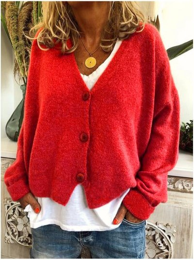 Loose Knitted  Autumn Long Sleeve V Neck Button Up Cardigan Knit