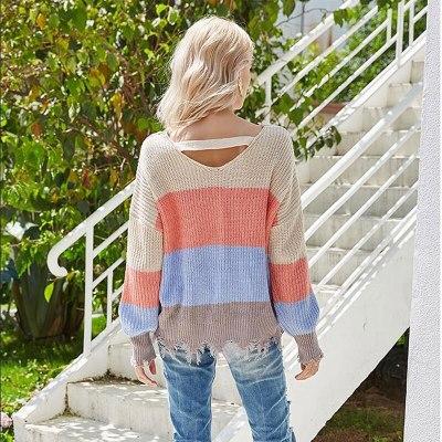 Women's Winter Sexy V-neck Pullover Tassel Sweater