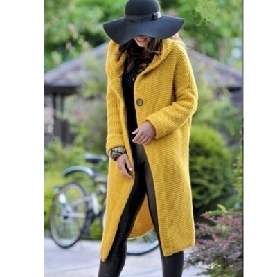 Autumn Women Cardigans Long Sleeve Fashion Striped Outwear  Hooded Poncho Solid Long Double Button Sweater