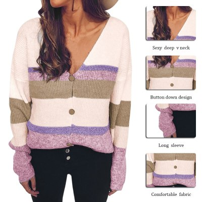 Women Spring Autumn Sweater Short Coat Single Breasted Knitted Striped Cardigans