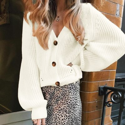 Women Knitted Cardigan 2020 Autumn Sexy V-Neck Batwing Sleeve Button Oversized Sweater Casual Loose Solid