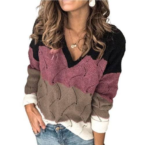 New Arrival V-Neck Color Matching Female Pullovers And Sweaters