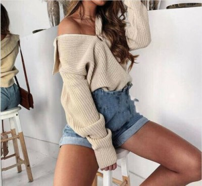 Sweater Women Plus Size Winter Clothes Turtleneck Long Sleeve zipper Pullover Casual Loose Oversized Blouse