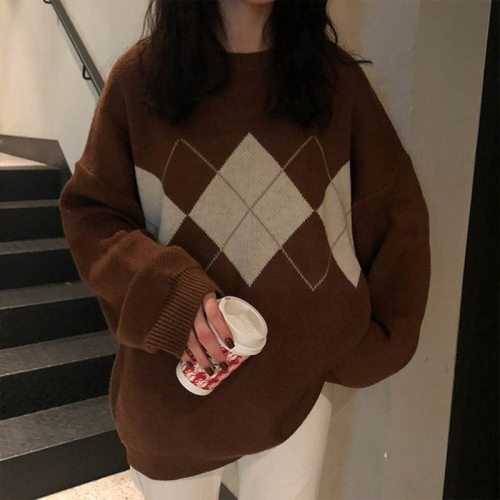 Women  Lingge  Loose  Coat Casual Sweater