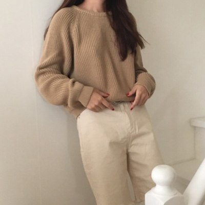 Fashion Ladies Full Sleeve Autumn Loose Solid O-Neck Knitting Sweater