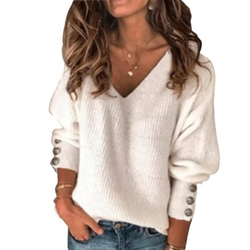 V-Neck Knitted Sweater Pullovers Women  Buttoned Jumper Sweaters
