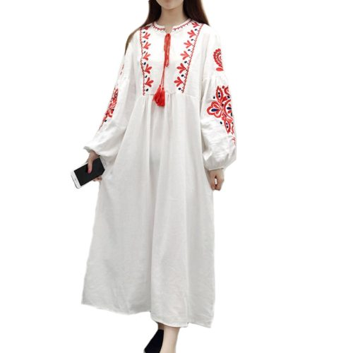 Loose Bohemia Embroidery Dresses Vintage Women Lantern Sleeve Floral Embroidered Line Cotton Dress