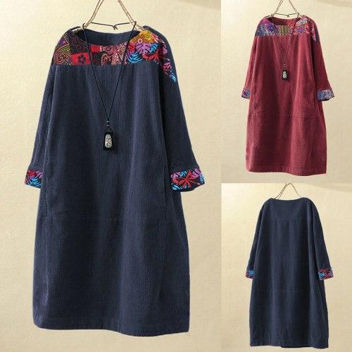 Women Vintage Corduroy Ethnic Print Patchwork Long Sleeve Pockets Loose Dress