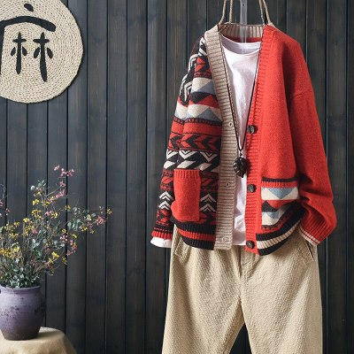 Autumn and Winter Matching Large Pockets Long Sleeve Buttoned Knit Cardigan Women Loose Literary V-neck Sweater