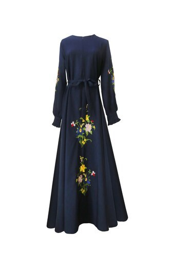 Autumn Women Ethnic Style Vintage Robe Fashion Embroidery Slim A-line Party Dresses