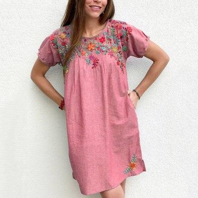 The Fashion Embroidered Crew Neck Short Sleeve Denim Dress