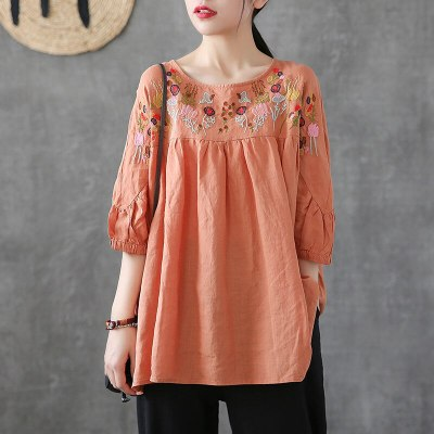 Vintage Floral Embroidery Blouse Women O neck Cotton Loose Ladies Tees Clothes