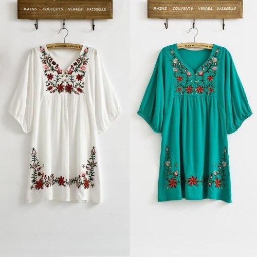 Vintage Ethnic Floral EMBROIDERED Loose DRESS Elegant Dresses