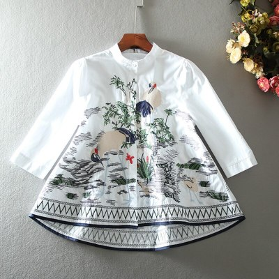 Embroidery Vintage Shirt Female Casual Loose Cotton Tops