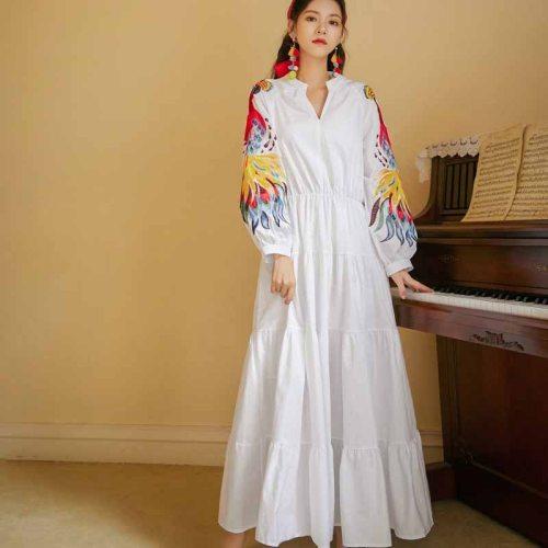 2020 Fashion V Neck Floral Print Bohemia Dress Autumn Ethnic Woman Long Sleeve Elegant Temperament Maxi Long Dresses