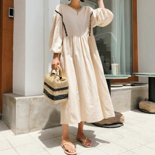 Vintage Puff Sleeve Embroidery Half Sleeve Dress Cotton Linen Dress