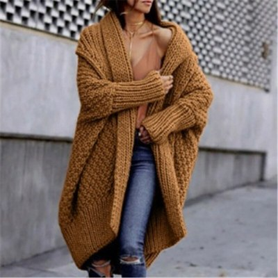 Autumn Winter Cardigan for Women Long Sleeve Solid Color Sweater Female Loose Knitted Coats