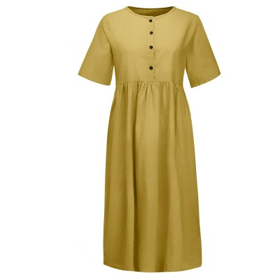 Women's Solid Straight Mid-calf Dress Casual Minimalist Button Short Sleeve Cotton And Linen Dress Vestidos Verano 2020 #T2G