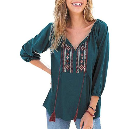 Summer Vintage Boho Ethnic Mexican Embroidery blouse women tops