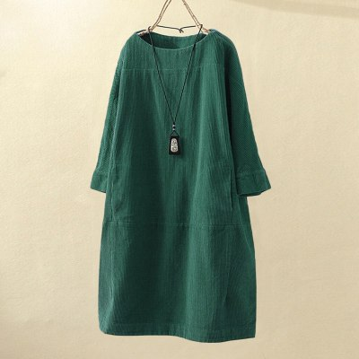 Women Vintage Pockets Corduroy Solid Color Long Sleeve Loose Casual Dress