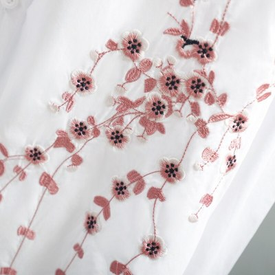 Embroidery Women Loose Long White Shirts