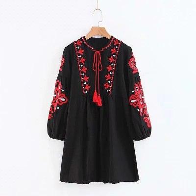 Spring Autumn Women Loose Elegant Ethnic Lantern Sleeve Cute Embroidered Floral Cute Dresses