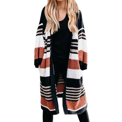 Women Fashion Autumn Color Block Long Lantern Sleeve Cardigan Coat Striped Knitted Sweater Coats