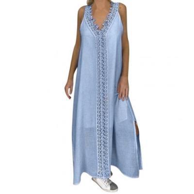 Women Solid Color V Neck Sleeveless Lace Patchwork Slitting Hem Long Vest Dress