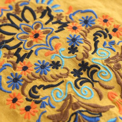 Women Fashion Half Sleeve Floral Shirt Vintage 70s  Embroidered Blouse