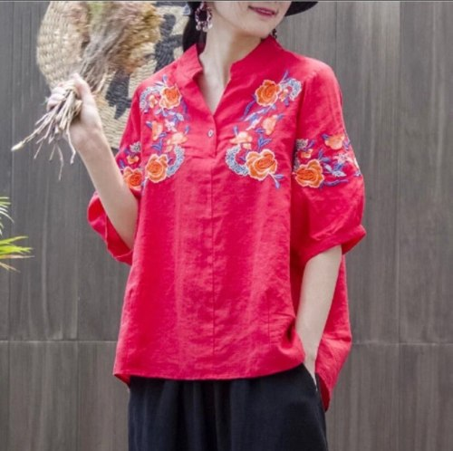 Vintage White Floral Embroidered Blouses For Women Loose Half Lantern Sleeve Cotton Linen Top