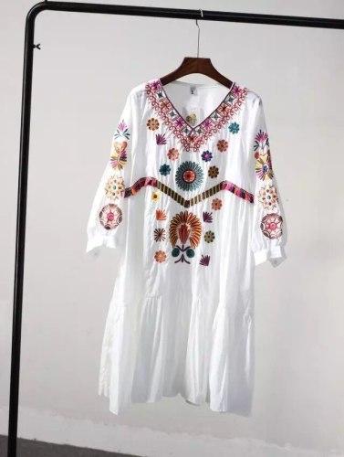 Boho Vintage Style Hand Embroidered Tunic  Dress