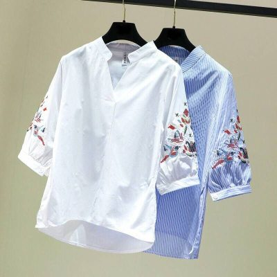 Ethnic Style Embroidery Shirts   Casual Tops