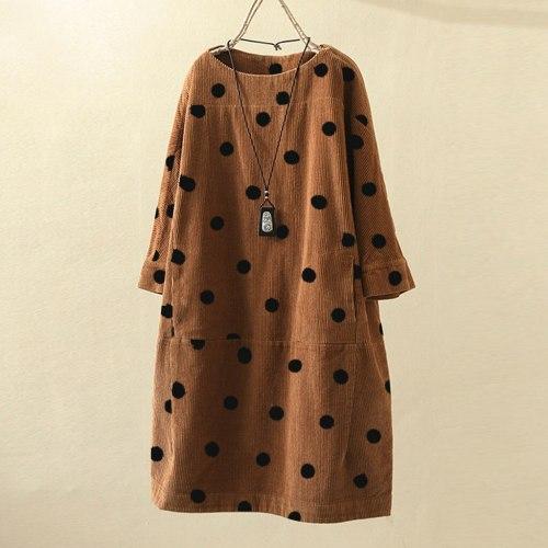 Corduroy Dress Fashion Women O-Neck Long Sleeve Dot Printed Loose Casual Dress Winter Dress