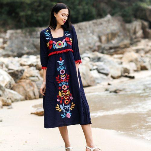 Vintage Chic Women Linen Cotton Floral Embroidery Loose Dress