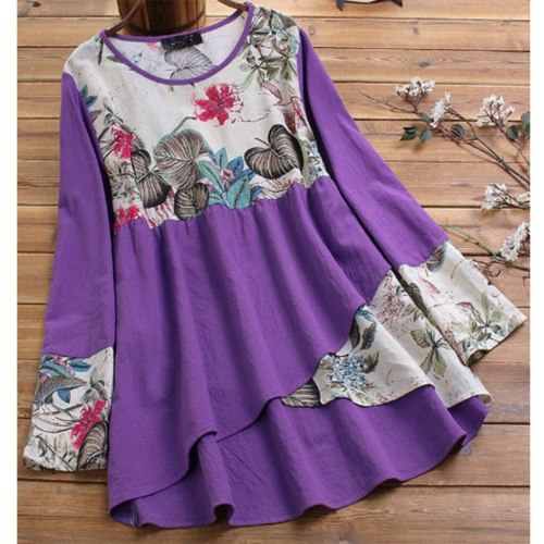 Print Splicing Women Blouses Plus Size Loose Tunic Shirt Blouse