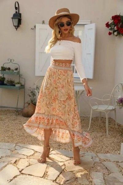 Spring Women's Long Skirts Bohemian High Waist Maxi Skirts Floral Printing Cotton Skirts