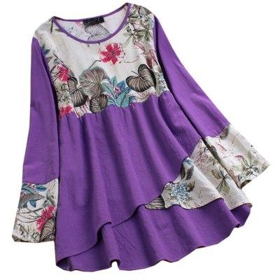 Print Splicing Women Blouses Plus Size Loose Tunic Shirt Blouse