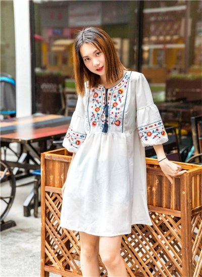 Women Vintage Floral Embroidery Dresses Bow Tie Lantern Long Sleeve Casual Loose Pleated Dresses
