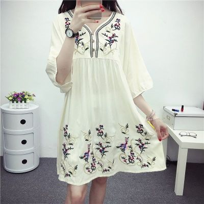 Vintage 70s Mexican Ethnic Embroidered Boho Women Chic Mini Dress