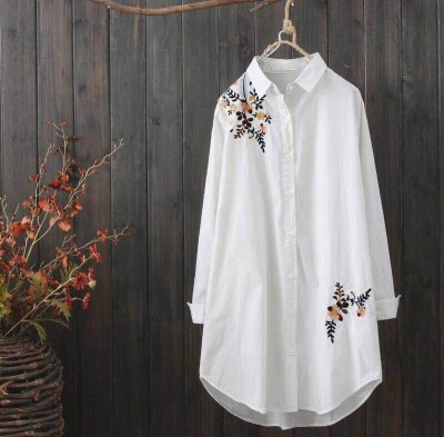 Autumn NEW Casual Ladies Blouse Cotton Embroidery Women Loose Long