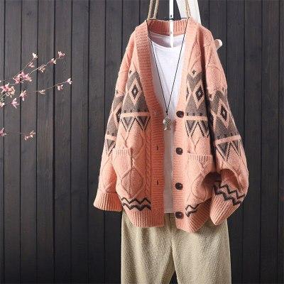 Knitted Cardigan Women's Sweater Retro Autumn and Winter New Loose Casual Embroidery Buttoned Long-Sleeved
