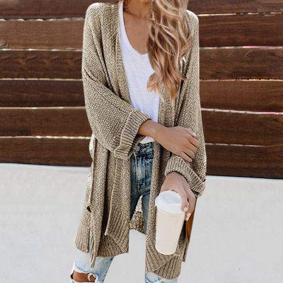 Autumn Winter New Women Casual Long Cardigan Fashion Korean Slim Pocket Loose Knit Sweater Outwear Coat