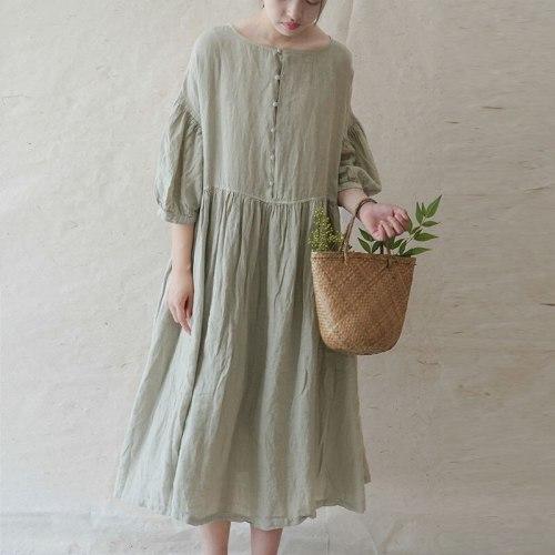 New Cotton Linen Comfortable O-neck Button Three Quarter Sleeve Dresses