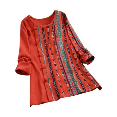 Ethnic Print Women Blouses Button Corduroy Patchwork