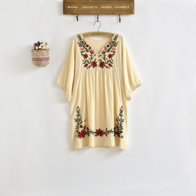 Vintage Ethnic Floral EMBROIDERED Loose DRESS Elegant Dresses