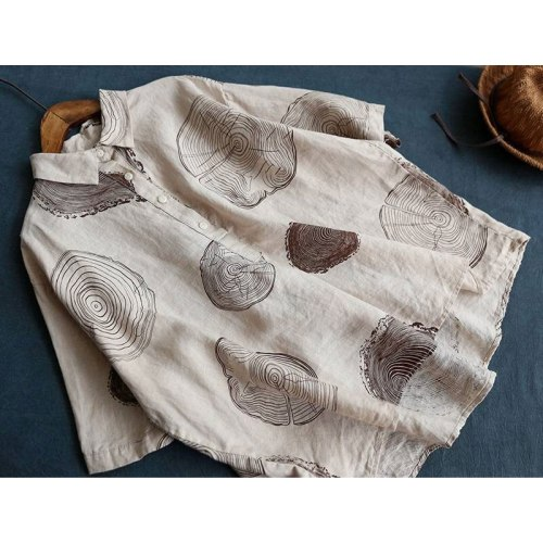 Women Vintage Cotton Linen Blouses Print Loose Casual Shirt