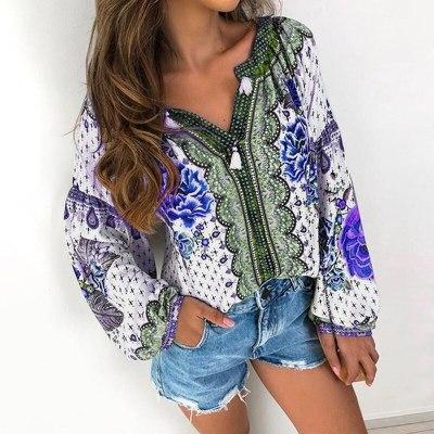 Women Ethnic Style Bohemian Blouse Shirt